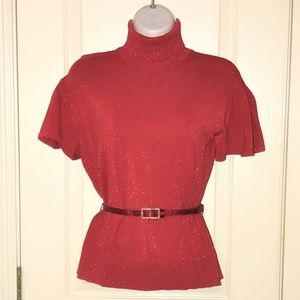 Worthington Red Lurex Short Sleeve Turtleneck